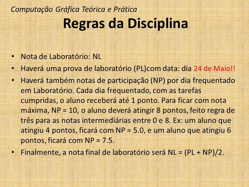 Regras da Disciplina Nota de Laboratório: NL Haverá uma prova de laboratório (PL)com data: dia 24 de Maio!! Haverá também notas de participação (NP) p