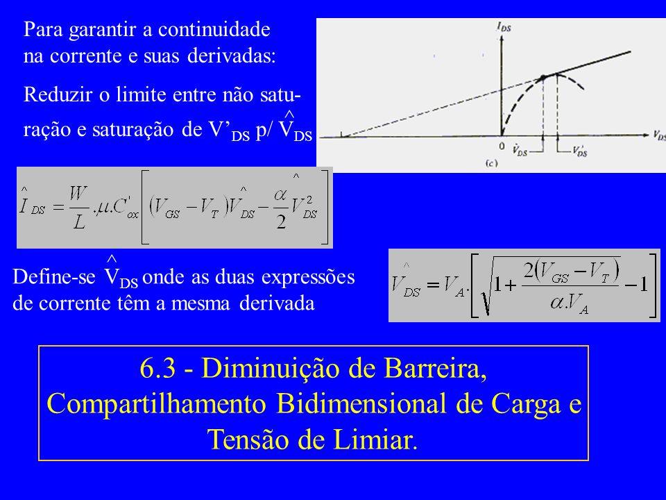 6.2 - CLM Para garantir a continuidade na corrente e suas derivadas: Reduzir o limite entre não satu- ração e saturação de V DS p/ V DS ^ 6.3 - Diminu