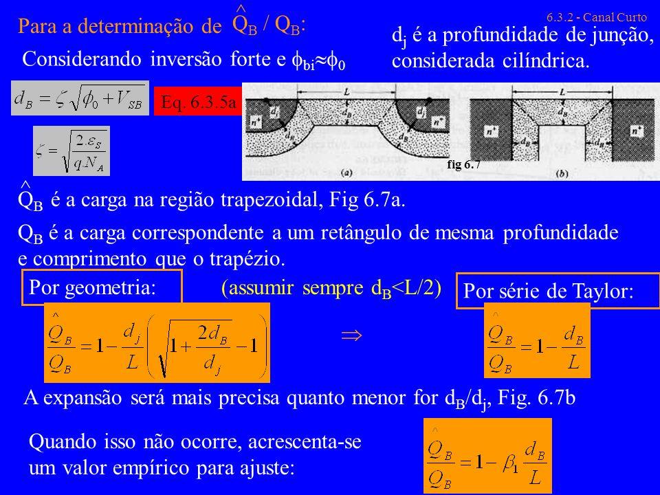 Para a determinação de Q B / Q B : ^ d j é a profundidade de junção, considerada cilíndrica. 6.3.2 - Canal Curto QBQB ^ é a carga na região trapezoida