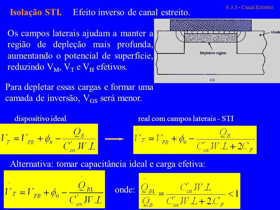 6.3.3 - Canal Estreito Isolação STI.Efeito inverso de canal estreito. Os campos laterais ajudam a manter a região de depleção mais profunda, aumentand