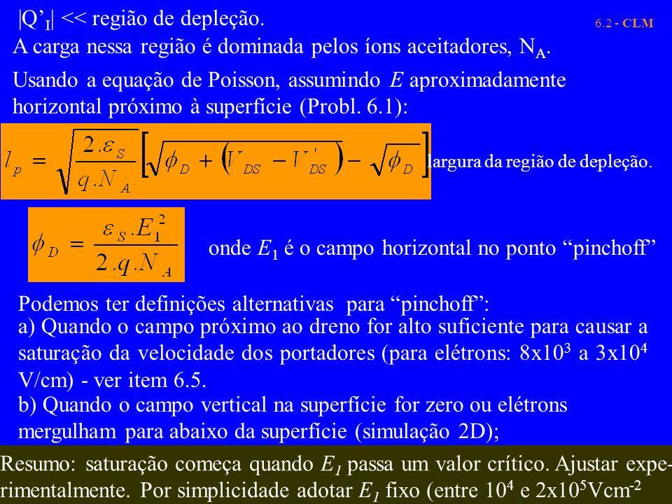 6.2 - CLM  Q I   << região de depleção. A carga nessa região é dominada pelos íons aceitadores, N A. Usando a equação de Poisson, assumindo E aproxima
