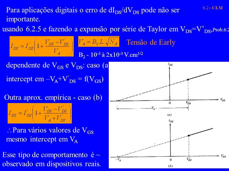 6.2 - CLM Para aplicações digitais o erro de dI DS /dV DS pode não ser importante. usando 6.2.5 e fazendo a expansão por série de Taylor em V DS =V DS