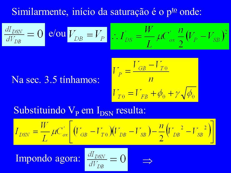 Similarmente, início da saturação é o p to onde: e/ou Na sec.