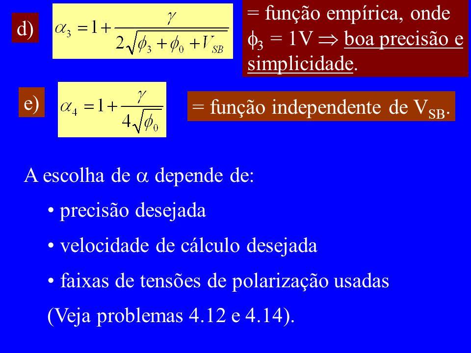 d) = função empírica, onde 3 = 1V boa precisão e simplicidade.