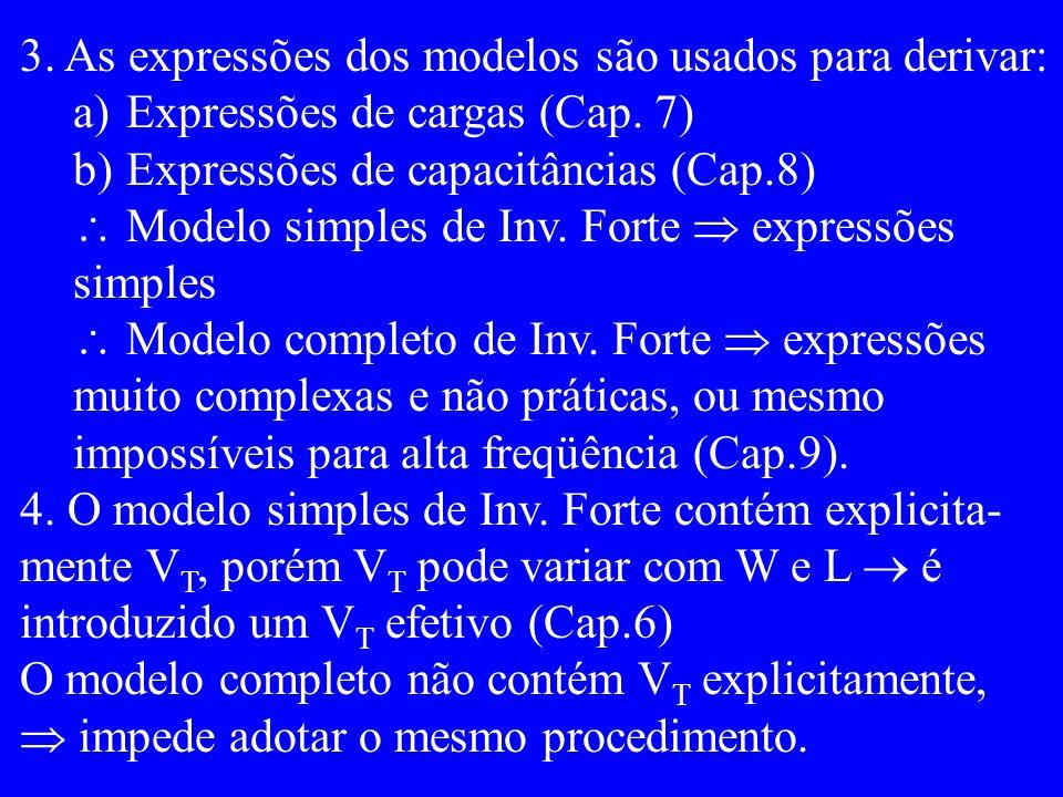 3. As expressões dos modelos são usados para derivar: a)Expressões de cargas (Cap.
