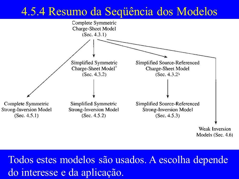 4.5.4 Resumo da Seqüência dos Modelos Todos estes modelos são usados.
