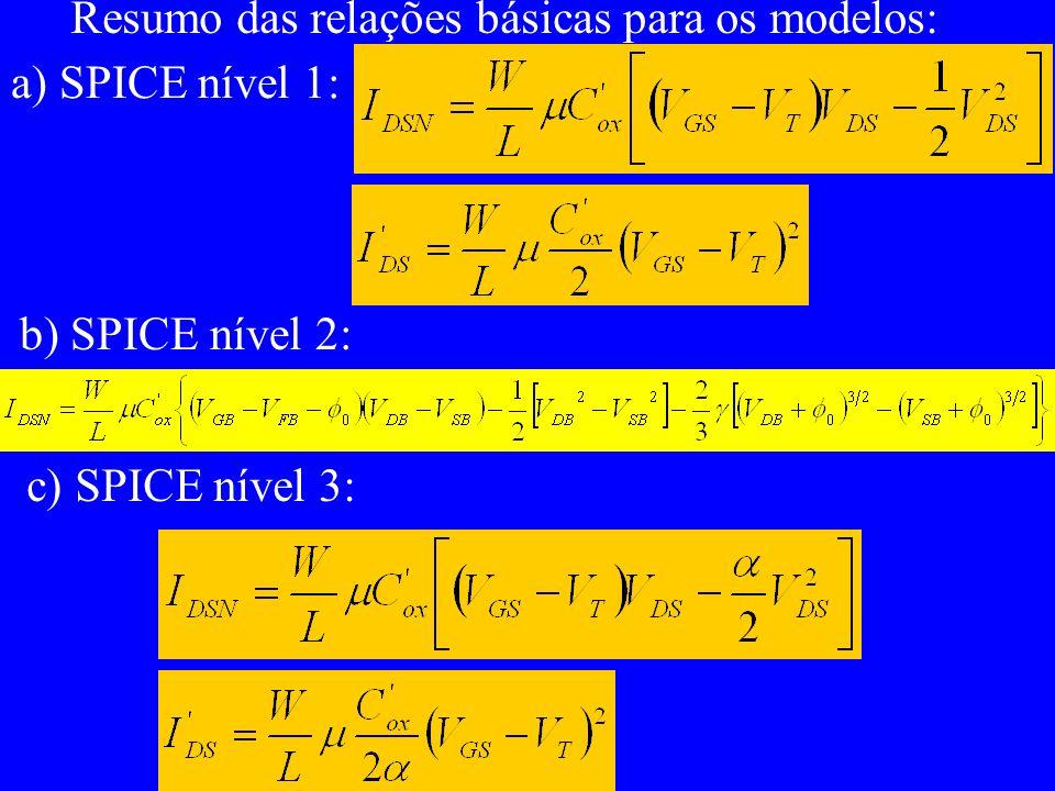 Resumo das relações básicas para os modelos: a) SPICE nível 1: b) SPICE nível 2: c) SPICE nível 3: