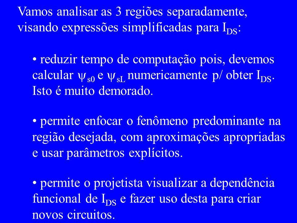 Vamos analisar as 3 regiões separadamente, visando expressões simplificadas para I DS : reduzir tempo de computação pois, devemos calcular s0 e sL numericamente p/ obter I DS.