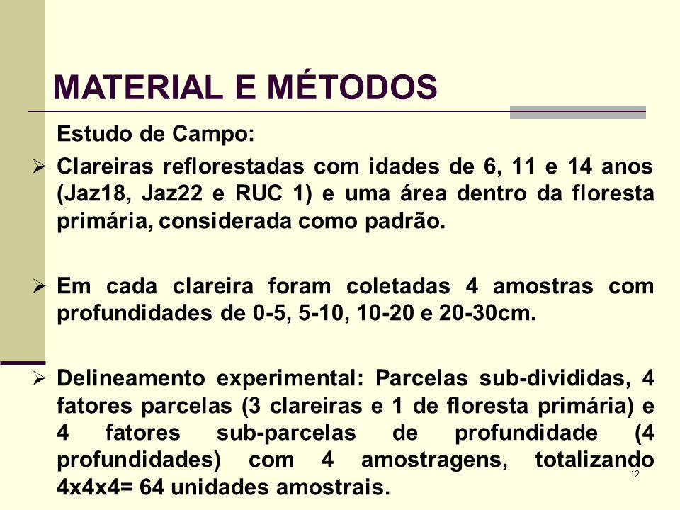 12 Estudo de Campo: Clareiras reflorestadas com idades de 6, 11 e 14 anos (Jaz18, Jaz22 e RUC 1) e uma área dentro da floresta primária, considerada c
