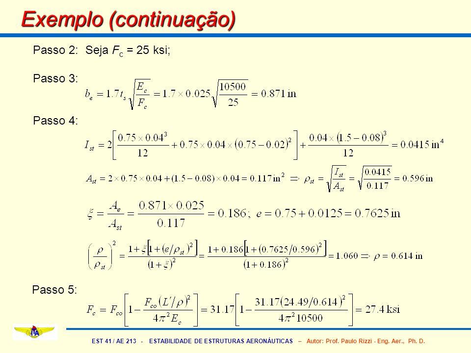 EST 41 / AE 213 - ESTABILIDADE DE ESTRUTURAS AERONÁUTICAS – Autor: Prof. Paulo Rizzi - Eng. Aer., Ph. D. Exemplo (continuação) Passo 2: Seja F c = 25