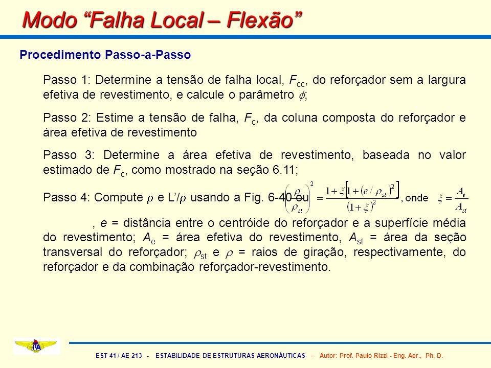EST 41 / AE 213 - ESTABILIDADE DE ESTRUTURAS AERONÁUTICAS – Autor: Prof. Paulo Rizzi - Eng. Aer., Ph. D. Modo Falha Local – Flexão Procedimento Passo-