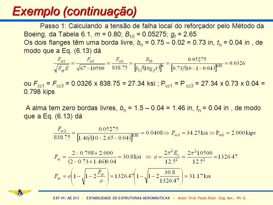 EST 41 / AE 213 - ESTABILIDADE DE ESTRUTURAS AERONÁUTICAS – Autor: Prof. Paulo Rizzi - Eng. Aer., Ph. D. Passo 1: Calculando a tensão de falha local d