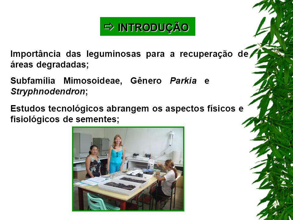 MATERIAL E MÉTODOS MATERIAL E MÉTODOS Parkia panurensis e Parkia velutina Teor de água: estufa a 105ºC, com 4 repetições de 5, 10, 15, 20, 25 e 30 sementes inteiras e cortadas, conforme Brasil (1992).