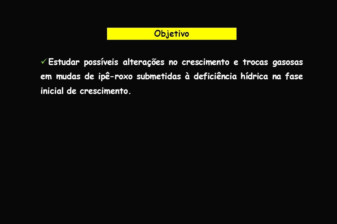 Material e Métodos Mudas de Ipê-roxo Transplantio (1 muda por vaso) Vasos de 5 kg Latossolo amarelo (análise química e Adubação) Aclimatação por 30 dias Casa-de-vegetação IRRIGADODÉFICIT HÍDRICO