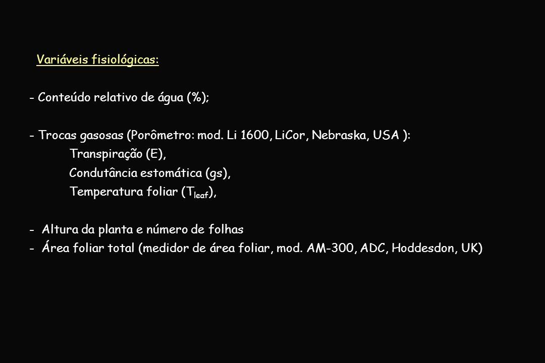 Delineamento experimental e estatística: - Inteiramente ao acaso, em esquema fatorial 2x2: # Controle e Déficit hídrico (suspensão da irrigação); # Tempo 0 e 12 dias após o início dos tratamentos; - Cada tratamento foi composto de quatro repetições (vasos), 01 plantas em cada; - Após ANOVA, as médias foram comparadas utilizando-se o teste de Newman-Keuls (P < 0,05 ).