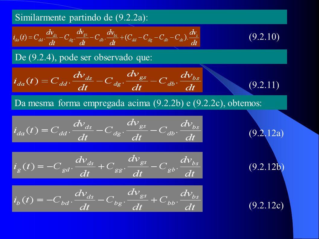 9.2.2 Topologias de circuito equivalente de pequeno sinal: (Fig.9.4) I D = I T I S = - I T No caso geral, onde as tensões de pequeno sinal não são nulas, leva a: Subtraindo (9.2.13) de (9.2.14), obtem-se: (9.2.13a) (9.2.13b) (9.2.14a) (9.2.14b) (9.2.15a) (9.2.15b)