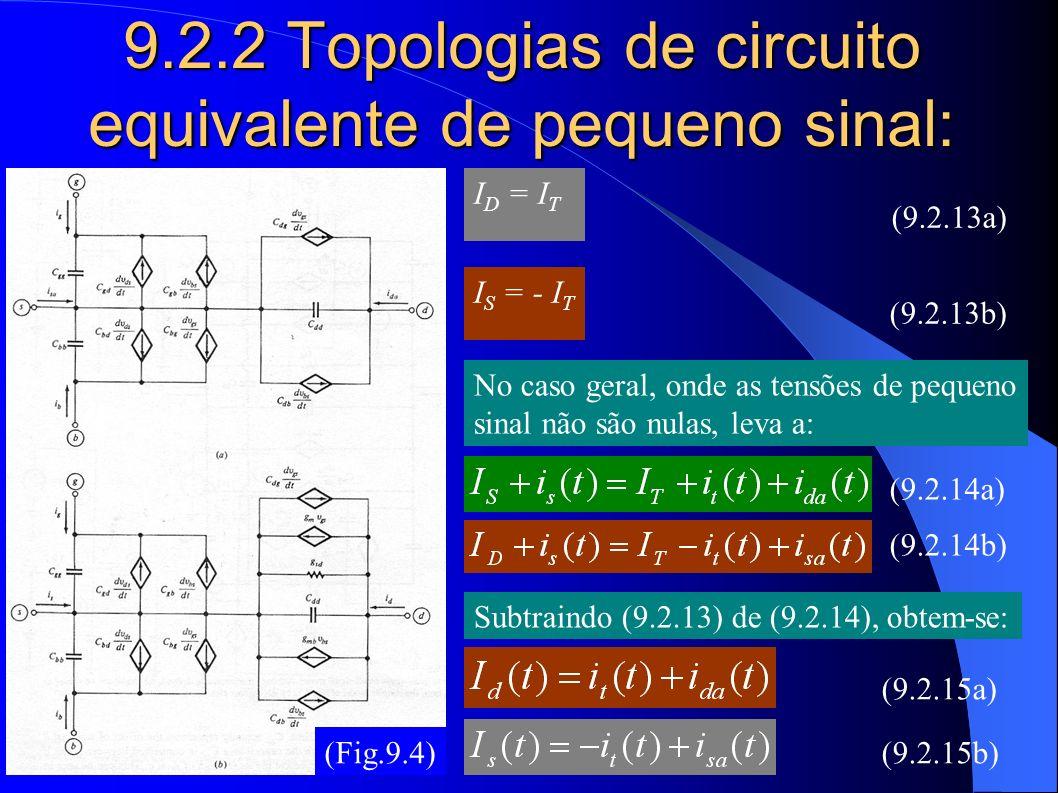 9.2.2 Topologias de circuito equivalente de pequeno sinal: (Fig.9.4) I D = I T I S = - I T No caso geral, onde as tensões de pequeno sinal não são nul