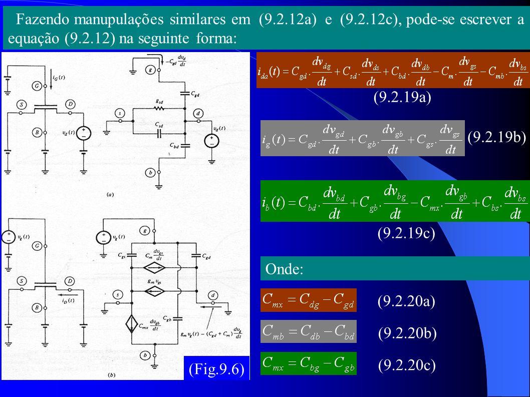 9.2.3 Avaliação das capacitâncias: Na inversão forte: Com definido no capitulo 4 como segue: =, 0, V DS >V DS Usando (7.4.15), temos: Usando Q s de (7.4.20) na definição (9.2.1b), chega-se a: (9.2.22) (9.2.23) (9.2.24) (9.2.21)
