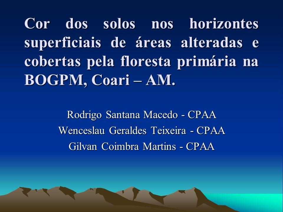 Cor dos solos nos horizontes superficiais de áreas alteradas e cobertas pela floresta primária na BOGPM, Coari – AM. Rodrigo Santana Macedo - CPAA Wen