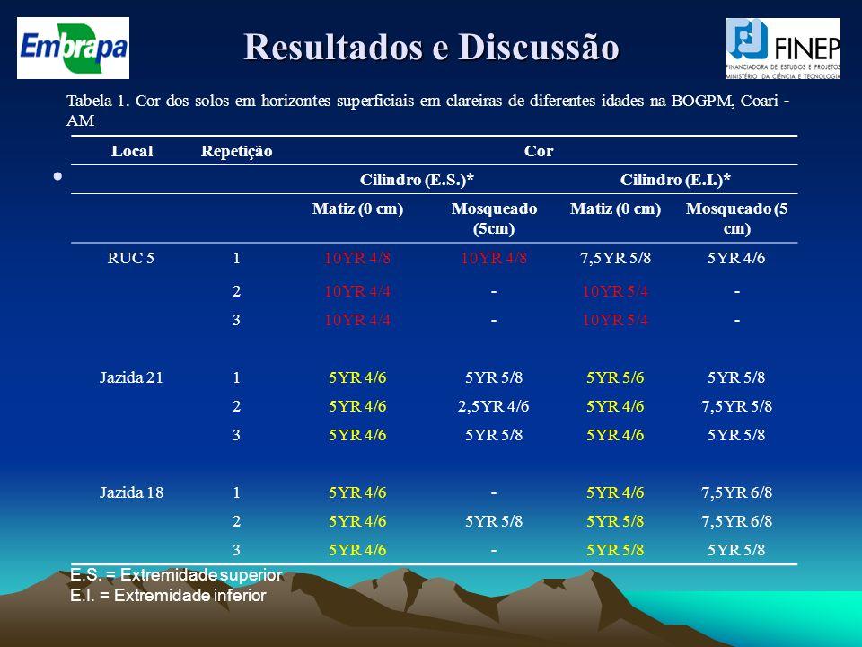 Resultados e Discussão LocalRepetiçãoCor Cilindro (E.S.)*Cilindro (E.I.)* Matiz (0 cm)Mosqueado (5cm) Matiz (0 cm)Mosqueado (5 cm) RUC 5110YR 4/8 7,5Y