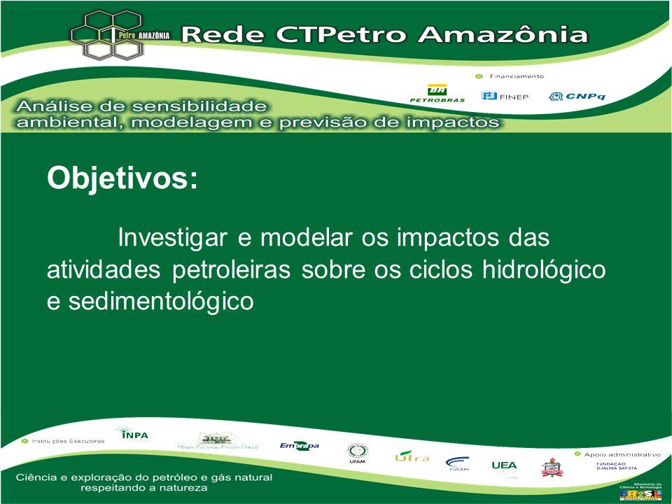 Objetivos: Investigar e modelar os impactos das atividades petroleiras sobre os ciclos hidrológico e sedimentológico