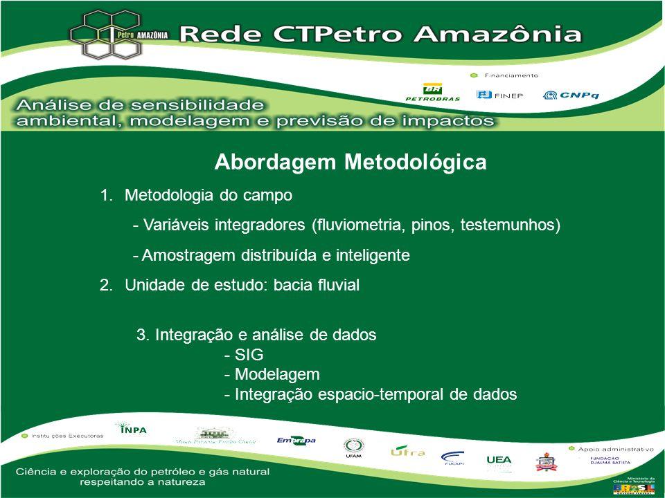 Abordagem Metodológica 1.Metodologia do campo - Variáveis integradores (fluviometria, pinos, testemunhos) - Amostragem distribuída e inteligente 2.Uni