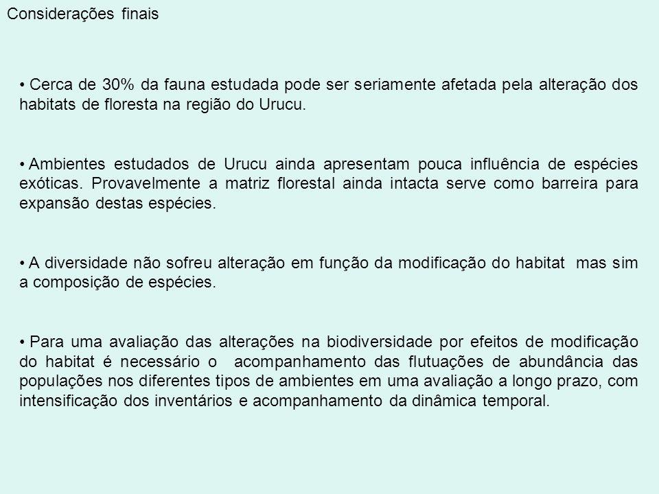Considerações finais Cerca de 30% da fauna estudada pode ser seriamente afetada pela alteração dos habitats de floresta na região do Urucu. Ambientes