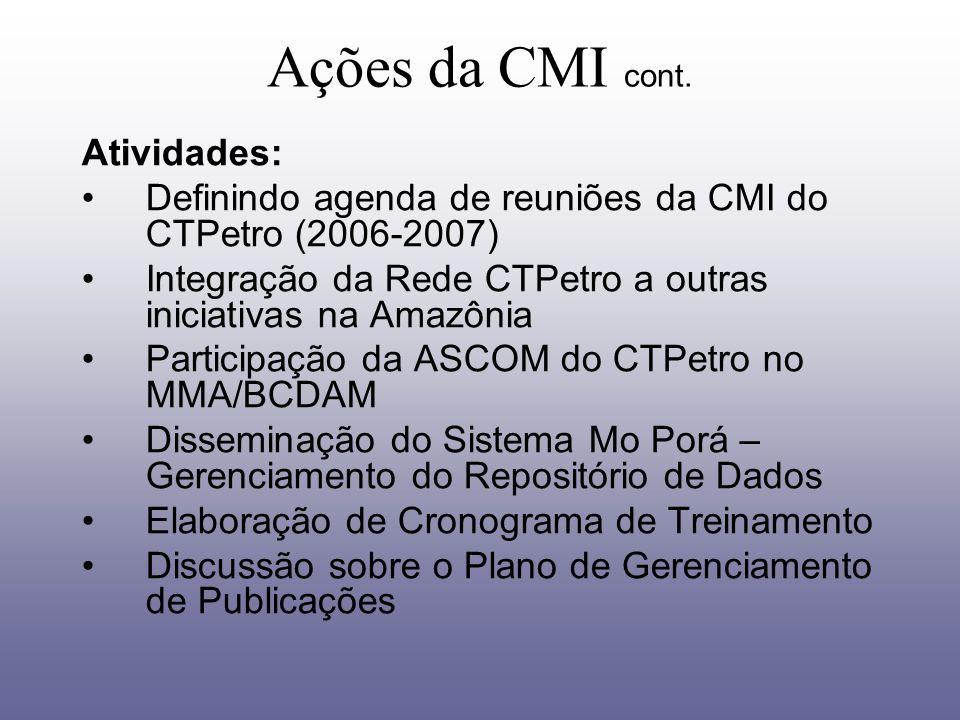 Ações da CMI cont. Atividades: Definindo agenda de reuniões da CMI do CTPetro (2006-2007) Integração da Rede CTPetro a outras iniciativas na Amazônia
