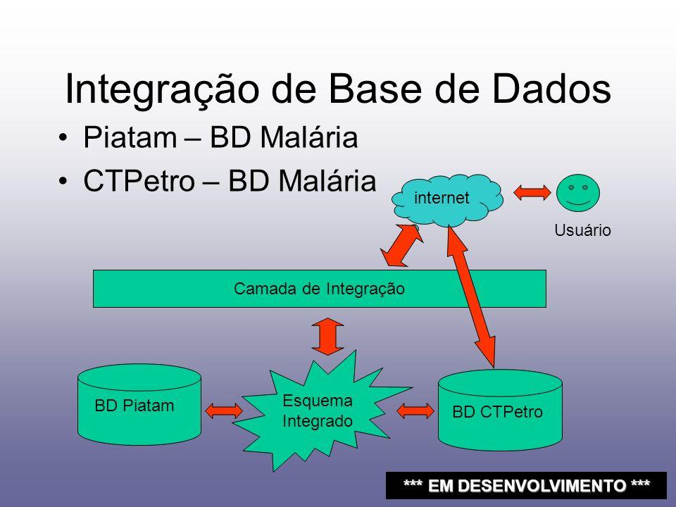 Integração de Base de Dados Piatam – BD Malária CTPetro – BD Malária BD CTPetro BD Piatam Camada de Integração Esquema Integrado internet Usuário ***