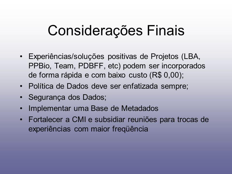 Considerações Finais Experiências/soluções positivas de Projetos (LBA, PPBio, Team, PDBFF, etc) podem ser incorporados de forma rápida e com baixo cus