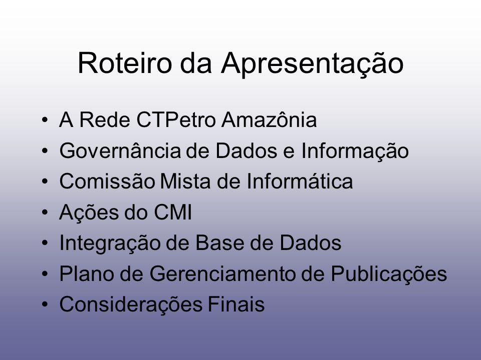 Roteiro da Apresentação A Rede CTPetro Amazônia Governância de Dados e Informação Comissão Mista de Informática Ações do CMI Integração de Base de Dad