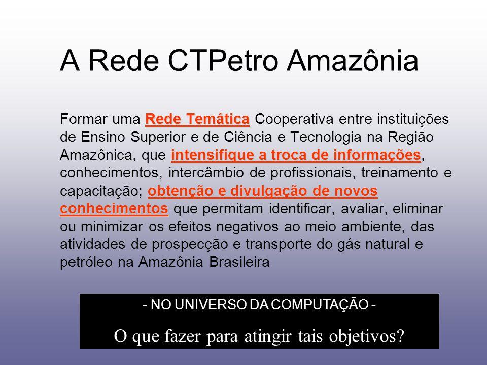 A Rede CTPetro Amazônia Rede Temática intensifique a troca de informações obtenção e divulgação de novos conhecimentos Formar uma Rede Temática Cooper