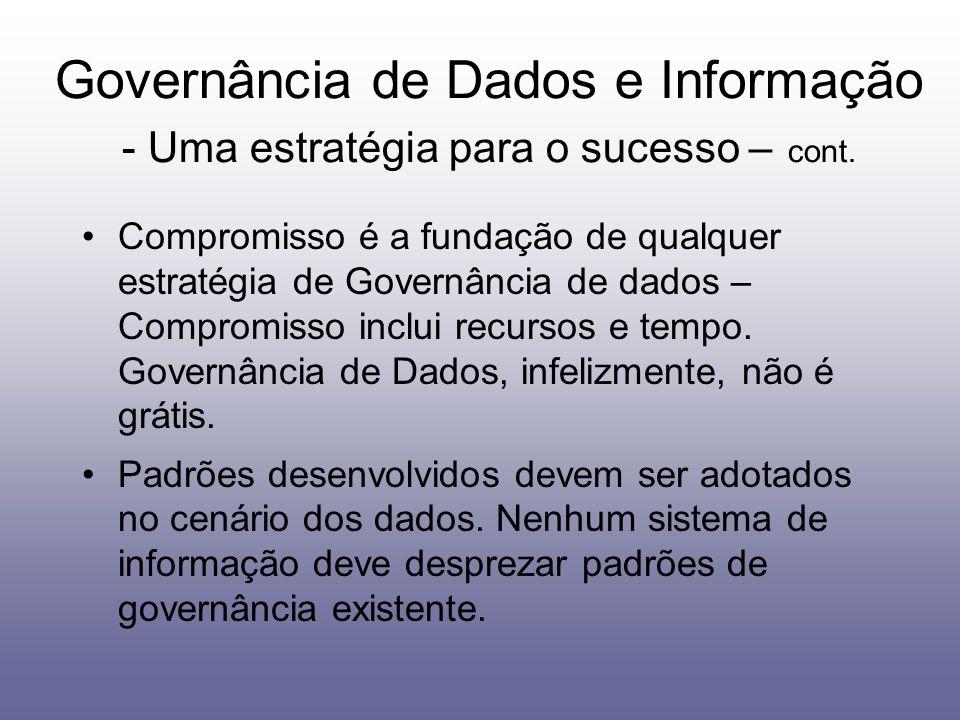 Compromisso é a fundação de qualquer estratégia de Governância de dados – Compromisso inclui recursos e tempo. Governância de Dados, infelizmente, não