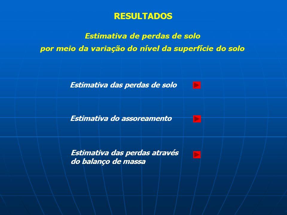 RESULTADOS Estimativa de perdas de solo por meio da variação do nível da superfície do solo Estimativa das perdas de solo Estimativa do assoreamento E