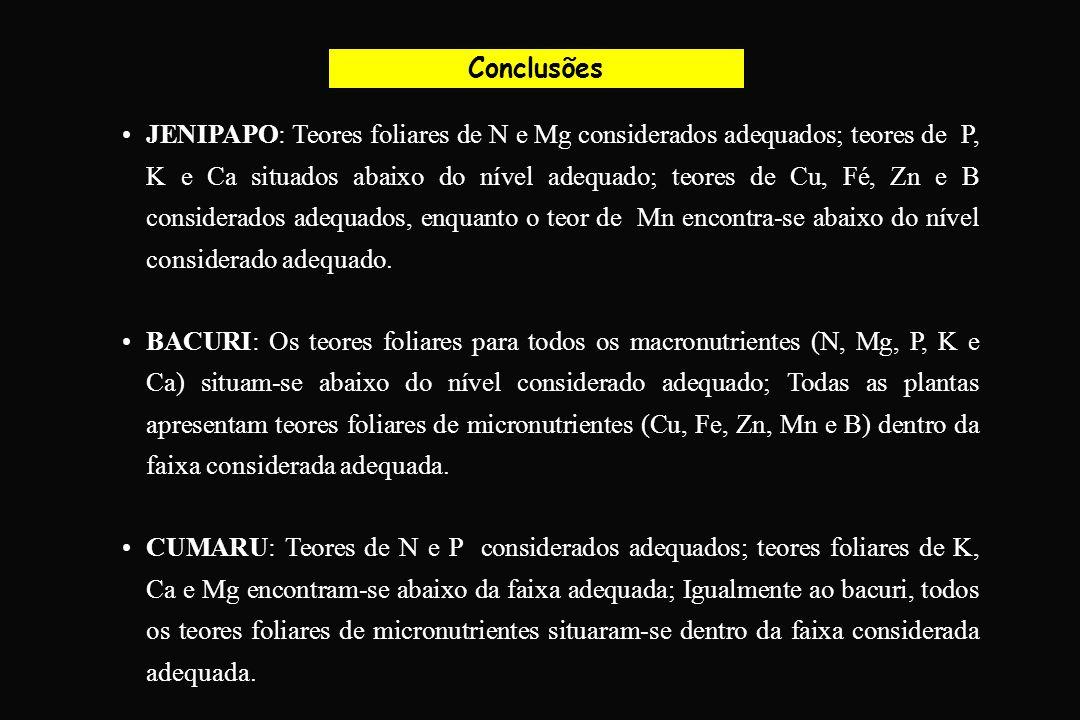 Conclusões JENIPAPO: Teores foliares de N e Mg considerados adequados; teores de P, K e Ca situados abaixo do nível adequado; teores de Cu, Fé, Zn e B