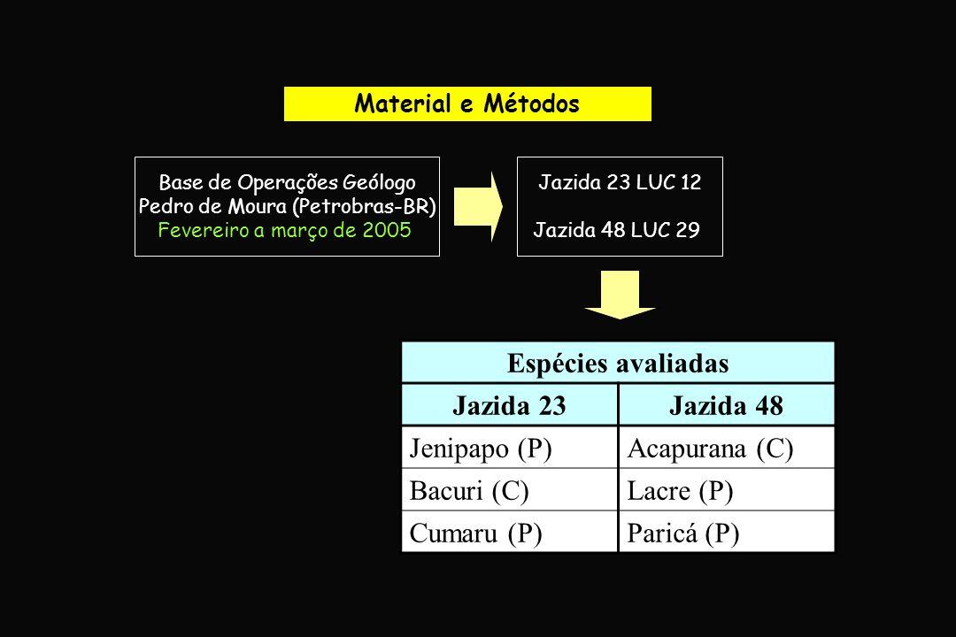 Áreas experimentais Base de Operações Geólogo Pedro de Moura, Urucu-AM Jazida 23 Jazida 48