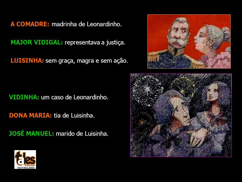 A COMADRE: madrinha de Leonardinho. MAJOR VIDIGAL: representava a justiça. LUISINHA: sem graça, magra e sem ação. VIDINHA: um caso de Leonardinho. DON