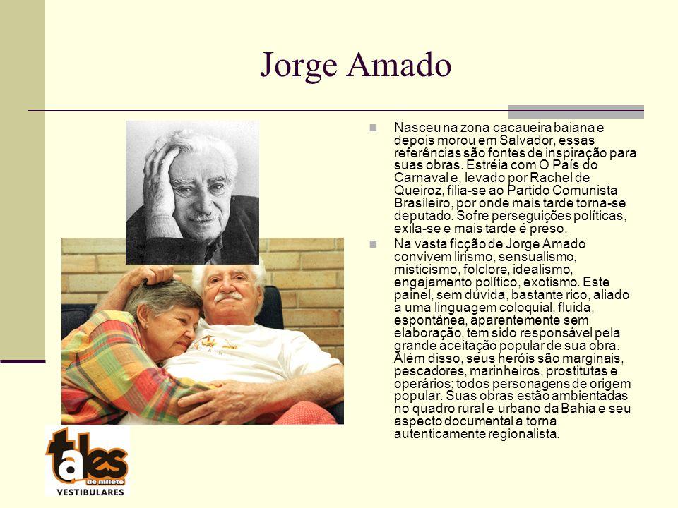 Jorge Amado Nasceu na zona cacaueira baiana e depois morou em Salvador, essas referências são fontes de inspiração para suas obras.