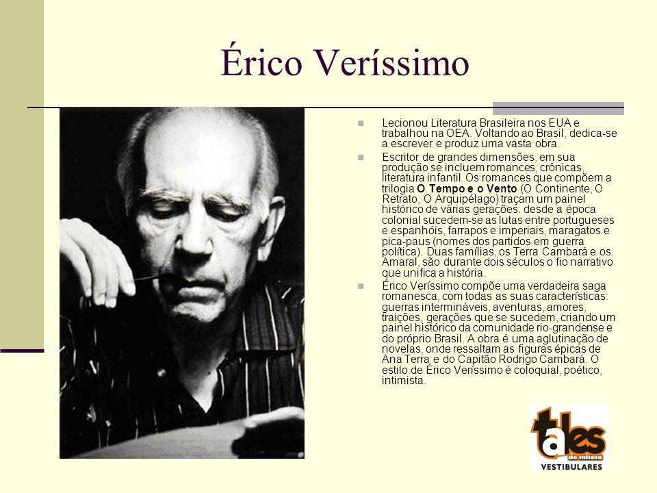 Érico Veríssimo Lecionou Literatura Brasileira nos EUA e trabalhou na OEA.