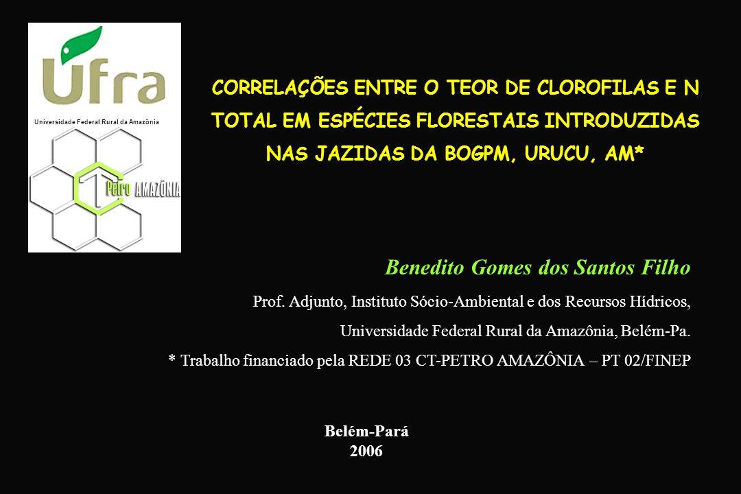 CORRELAÇÕES ENTRE O TEOR DE CLOROFILAS E N TOTAL EM ESPÉCIES FLORESTAIS INTRODUZIDAS NAS JAZIDAS DA BOGPM, URUCU, AM* Benedito Gomes dos Santos Filho