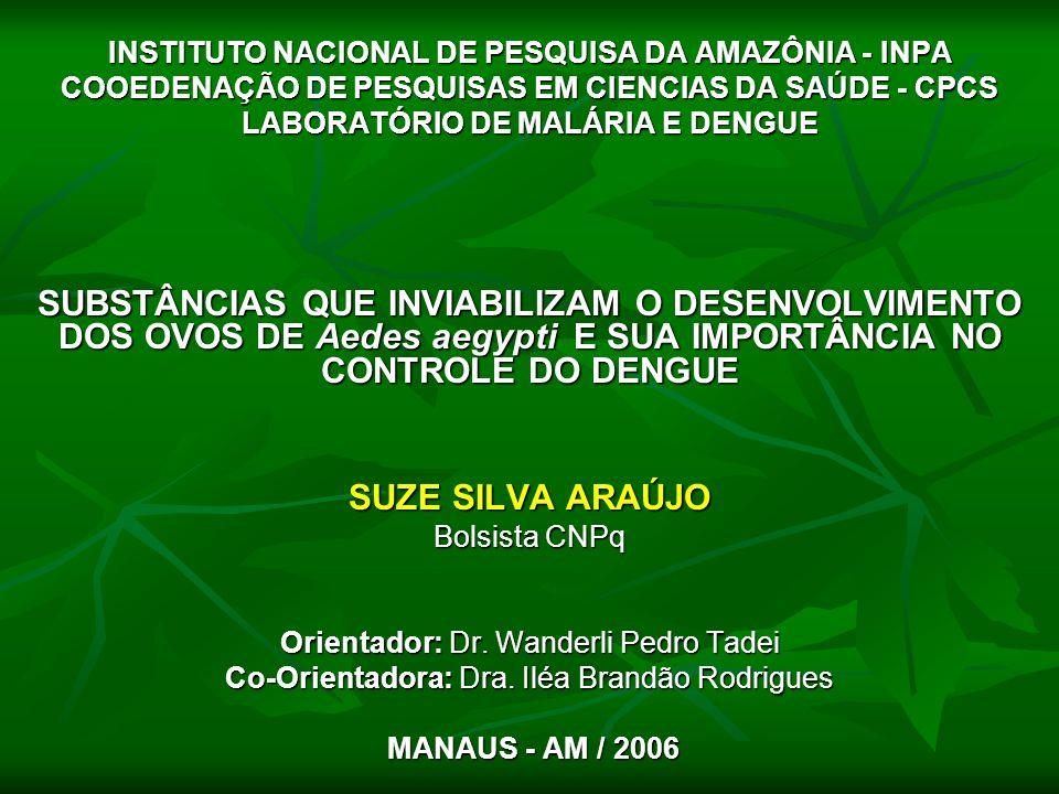 INSTITUTO NACIONAL DE PESQUISA DA AMAZÔNIA - INPA COOEDENAÇÃO DE PESQUISAS EM CIENCIAS DA SAÚDE - CPCS LABORATÓRIO DE MALÁRIA E DENGUE SUBSTÂNCIAS QUE