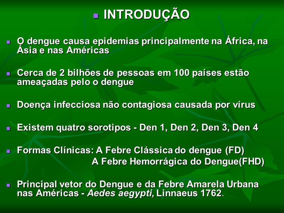 INTRODUÇÃO INTRODUÇÃO O dengue causa epidemias principalmente na África, na Ásia e nas Américas O dengue causa epidemias principalmente na África, na