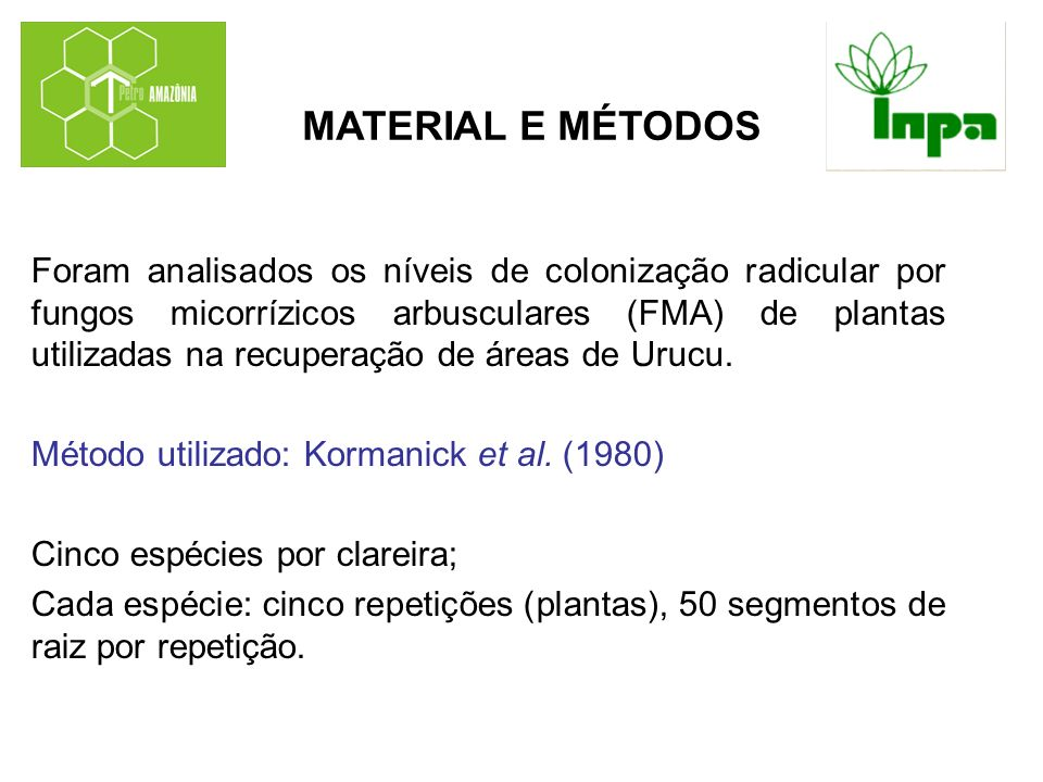 Foram analisados os níveis de colonização radicular por fungos micorrízicos arbusculares (FMA) de plantas utilizadas na recuperação de áreas de Urucu.