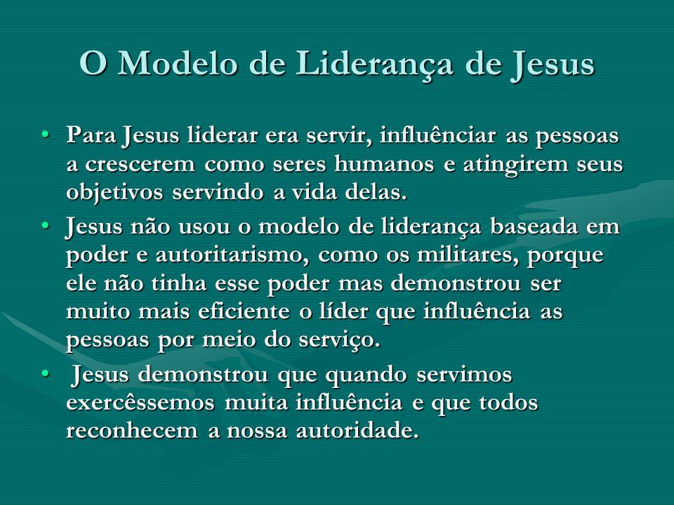 O Modelo de Liderança de Jesus Para Jesus liderar era servir, influênciar as pessoas a crescerem como seres humanos e atingirem seus objetivos servind
