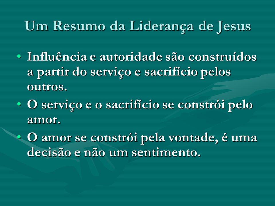 Um Resumo da Liderança de Jesus Influência e autoridade são construídos a partir do serviço e sacrifício pelos outros.Influência e autoridade são cons