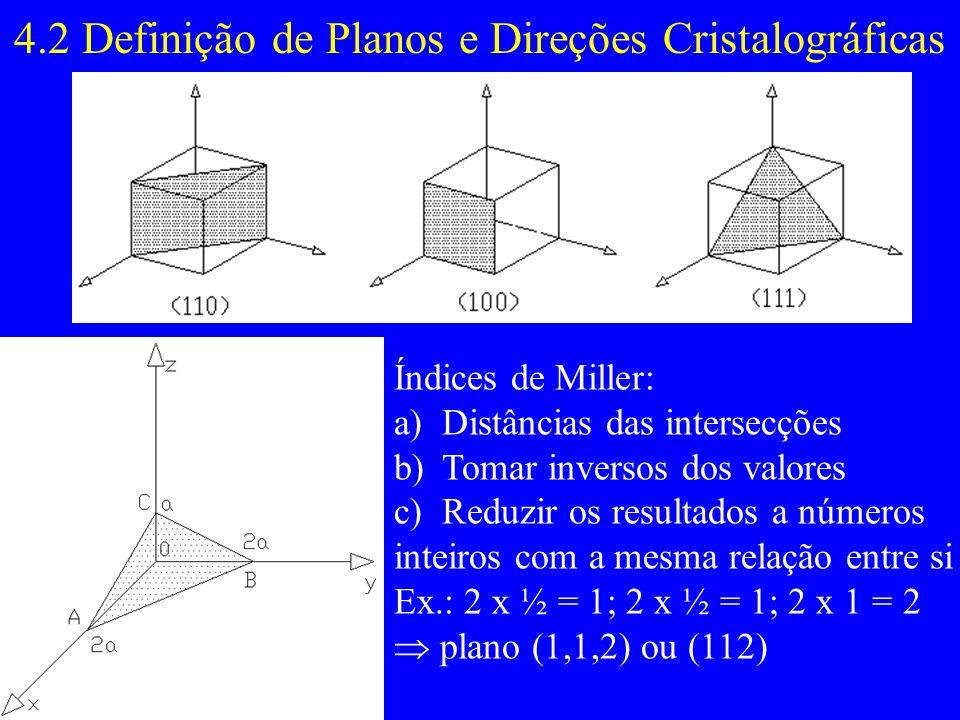 4.2 Definição de Planos e Direções Cristalográficas Índices de Miller: a)Distâncias das intersecções b)Tomar inversos dos valores c)Reduzir os resulta