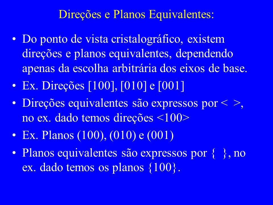 Direções e Planos Equivalentes: Do ponto de vista cristalográfico, existem direções e planos equivalentes, dependendo apenas da escolha arbitrária dos
