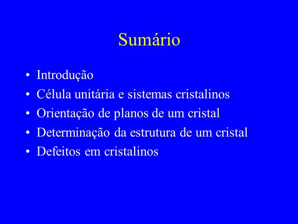 Sumário Introdução Célula unitária e sistemas cristalinos Orientação de planos de um cristal Determinação da estrutura de um cristal Defeitos em crist