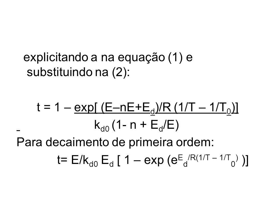 explicitando a na equação (1) e substituindo na (2): t = 1 – exp[ (E–nE+E d )/R (1/T – 1/T 0 )] k d0 (1- n + E d /E) Para decaimento de primeira ordem: t= E/k d0 E d [ 1 – exp (e E d /R(1/T – 1/T 0 ) )]