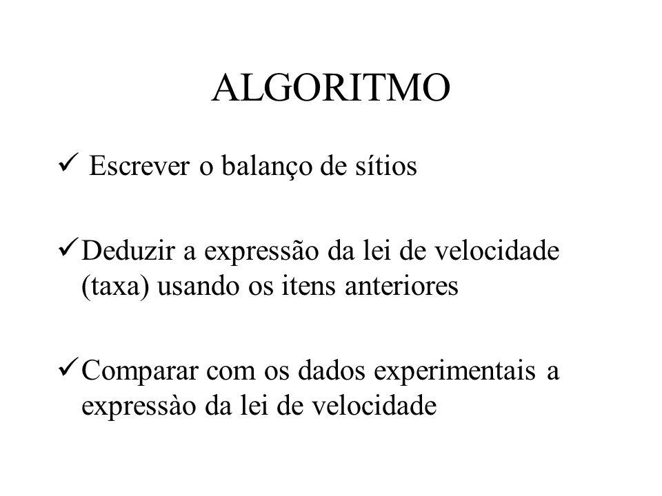 ALGORITMO Escrever o balanço de sítios Deduzir a expressão da lei de velocidade (taxa) usando os itens anteriores Comparar com os dados experimentais